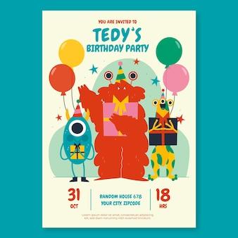 Plantilla de invitación de cumpleaños de monstruos planos