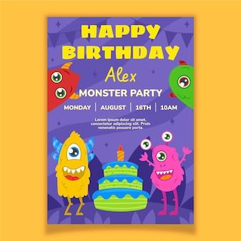 Plantilla de invitación de cumpleaños de monstruos