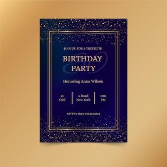 Plantilla de invitación de cumpleaños negra con destellos dorados