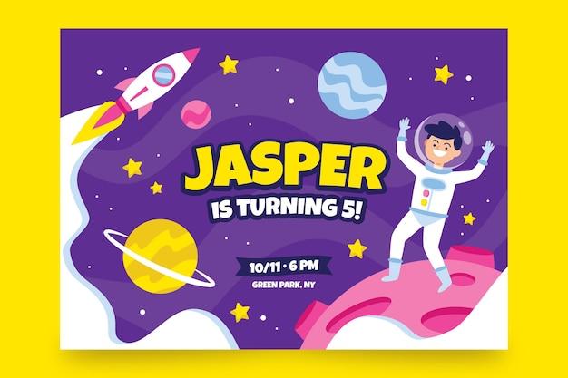 Plantilla de invitación de cumpleaños para niños con astronauta