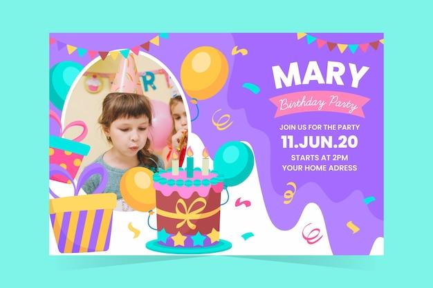 Plantilla de invitación de cumpleaños para niños con foto