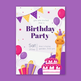 Plantilla de invitación de cumpleaños para niños con jirafa