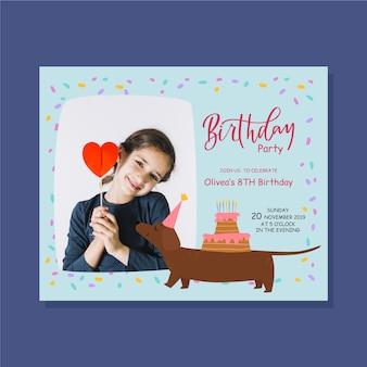 Plantilla de invitación de cumpleaños para niños linda niña y perro