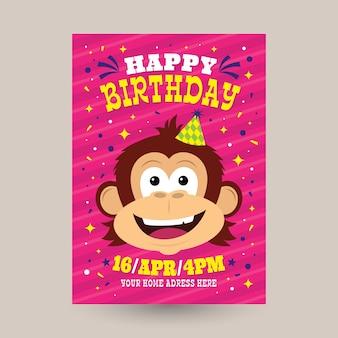 Plantilla de invitación de cumpleaños para niños con mono