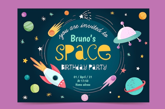Plantilla de invitación de cumpleaños para niños de nave espacial