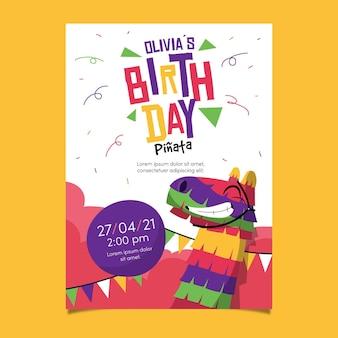 Plantilla de invitación de cumpleaños para niños con piñata