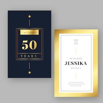 Plantilla de invitación de cumpleaños de oro de lujo