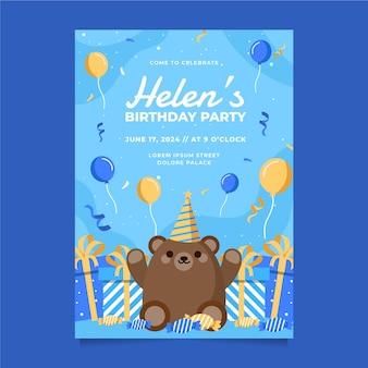 Plantilla de invitación de cumpleaños con osito de peluche