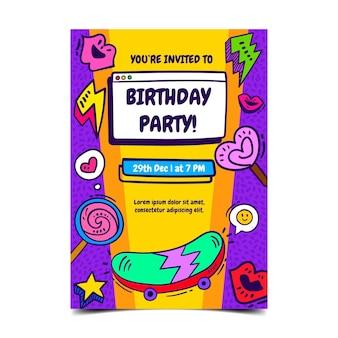 Plantilla de invitación de cumpleaños plana nostálgica de los 90 dibujada a mano