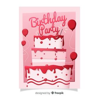 Plantilla de invitación de cumpleaños plana con pastel