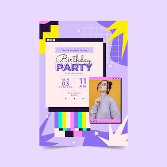 Plantilla de invitación de cumpleaños plana