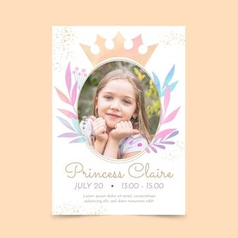 Plantilla de invitación de cumpleaños princesa acuarela pintada a mano con foto