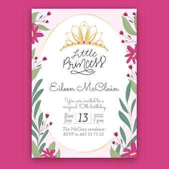Plantilla de invitación de cumpleaños princesa dibujada a mano