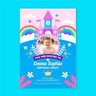 Plantilla de invitación de cumpleaños de princesa plana con foto