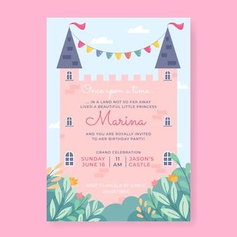 Plantilla de invitación de cumpleaños de princesa plana orgánica