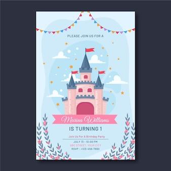 Plantilla de invitación de cumpleaños de princesa plana