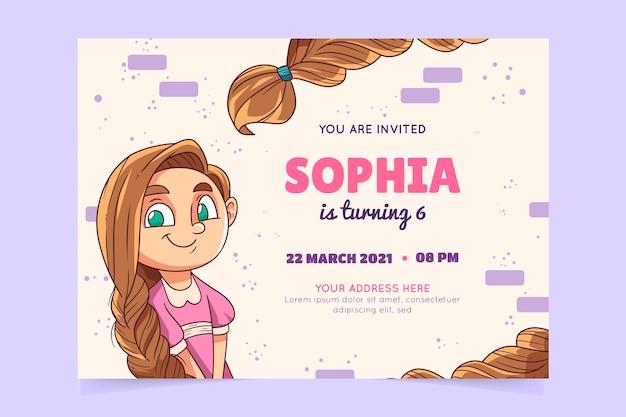 Plantilla de invitación de cumpleaños de rapunzel dibujada a mano
