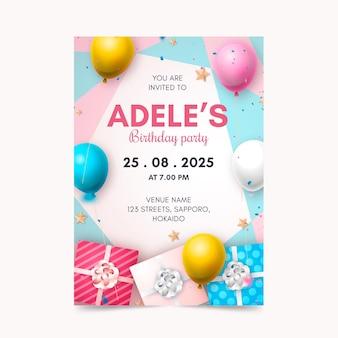 Plantilla de invitación de cumpleaños realista
