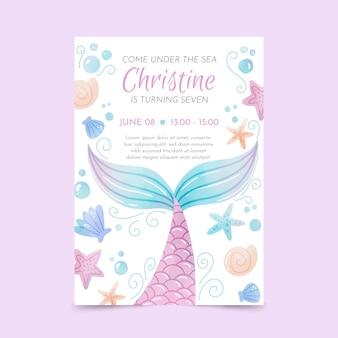 Plantilla de invitación de cumpleaños de sirena acuarela pintada a mano
