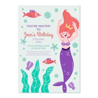 Plantilla de invitación de cumpleaños de sirena dibujada a mano