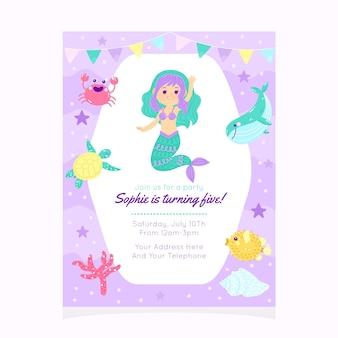 Plantilla de invitación de cumpleaños de sirena de dibujos animados