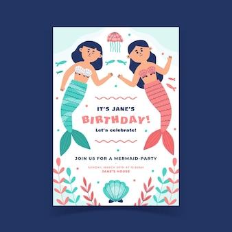 Plantilla de invitación de cumpleaños de sirena plana