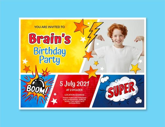 Plantilla de invitación de cumpleaños de superhéroe de acuarela pintada a mano con foto