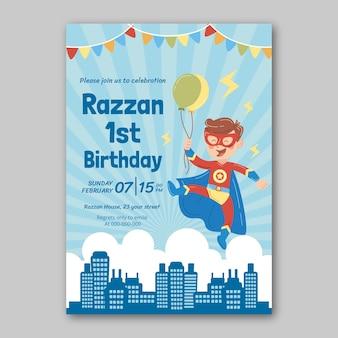 Plantilla de invitación de cumpleaños de superhéroe dibujada a mano