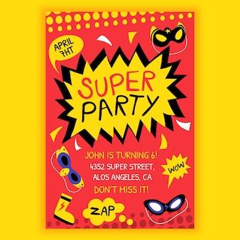 Plantilla de invitación de cumpleaños de superhéroe de dibujos animados