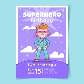 Plantilla de invitación de cumpleaños de superhéroe plano orgánico