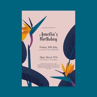 Plantilla de invitación de cumpleaños con tema floral