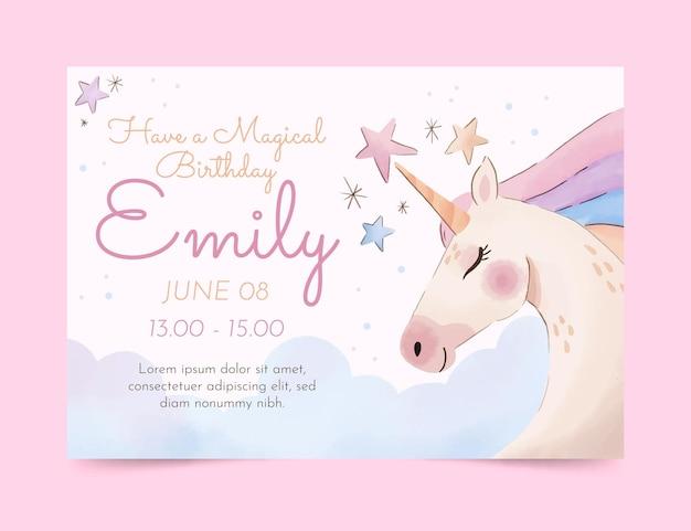 Plantilla de invitación de cumpleaños de unicornio acuarela pintada a mano vector gratuito