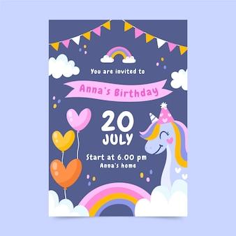 Plantilla de invitación de cumpleaños de unicornio dibujada a mano con foto