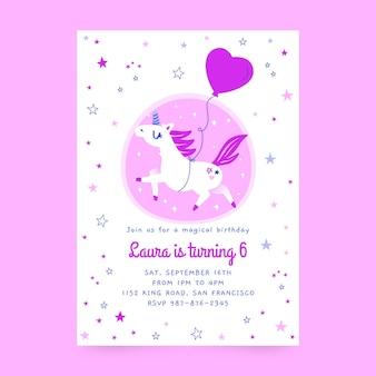 Plantilla de invitación de cumpleaños de unicornio dibujado a mano