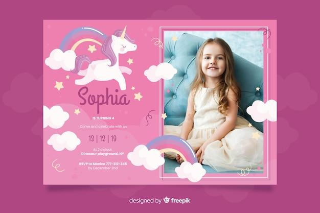 Plantilla de invitación de cumpleaños de unicornio con foto