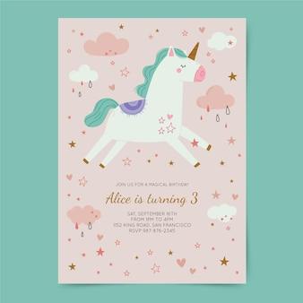 Plantilla de invitación de cumpleaños de unicornio