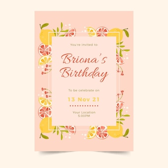 Plantilla de invitación de cumpleaños vertical con cítricos