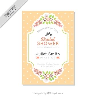 Plantilla de invitación de despedida de soltera con lunares y flores