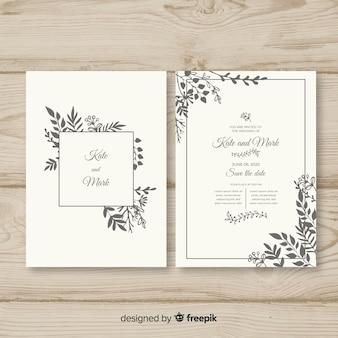 Plantilla de invitación dibujada de boda