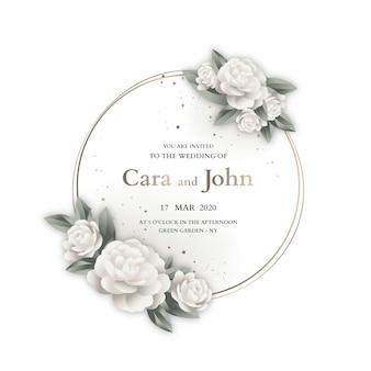 Plantilla de invitación de diseño de marco de boda