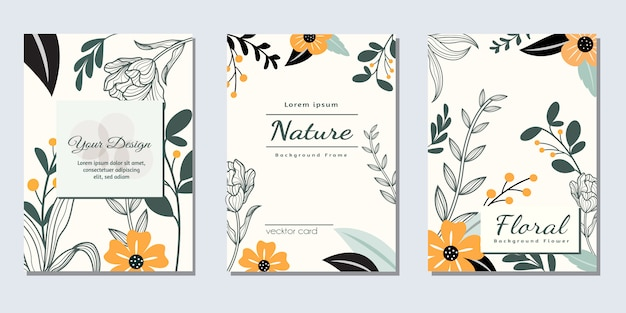 Plantilla de invitación de diseño de portada de marco de flor