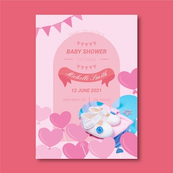 Plantilla de invitación de ducha de bebé niña con foto