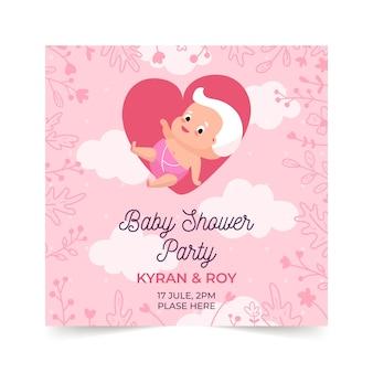 Plantilla de invitación de ducha de bebé niña