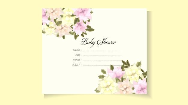 Plantilla de invitación de ducha de bebé tema de diseño floral dulce flor linda