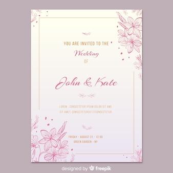 Plantilla de invitación elegante floral de boda