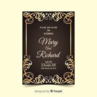 Plantilla de invitación elegante y lujosa de boda