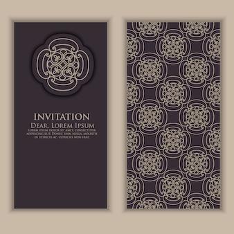 Plantilla de invitación con elementos decorativos árabes