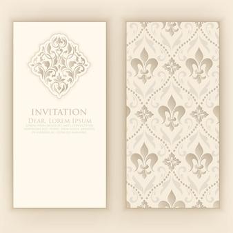 Plantilla de invitación con elementos decorativos de damasco