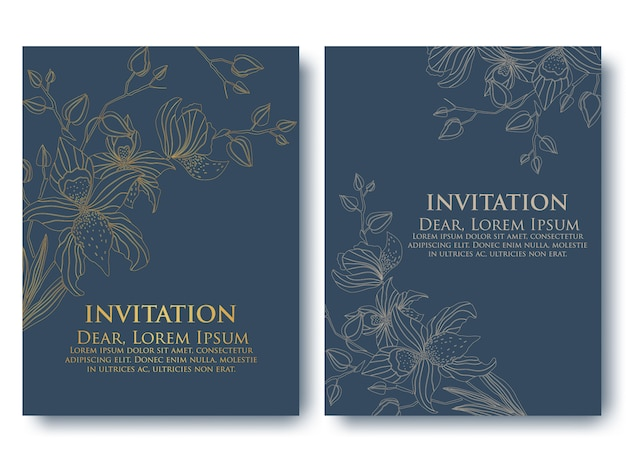 Plantilla de invitación con elementos florales