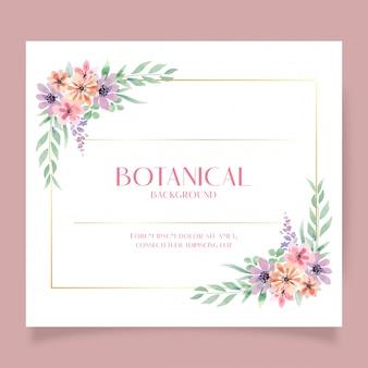 Plantilla de invitación de estilo suelto de acuarela anemone and zinnia flower botanical bouquet